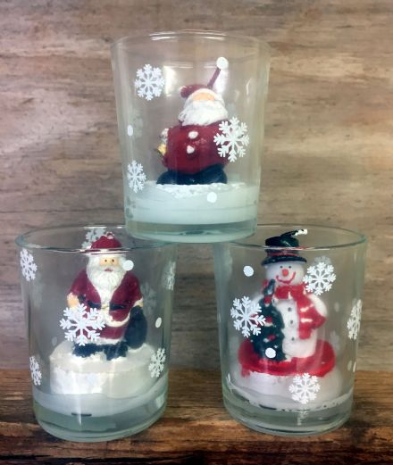 Glass Snowflake Votive with Christmas Santa & Snowman Candle - Set of 3